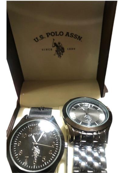 Relojes Set Color Negro Y Platino U.s Polo Assnn Nuevos