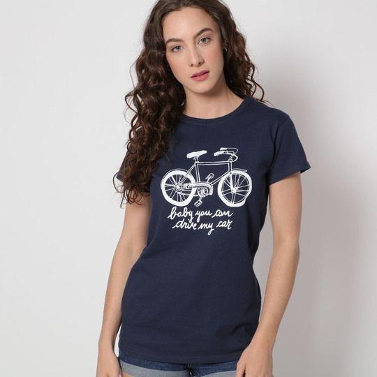 Playera Azul Marino Con Bicicleta Estampada En Centro