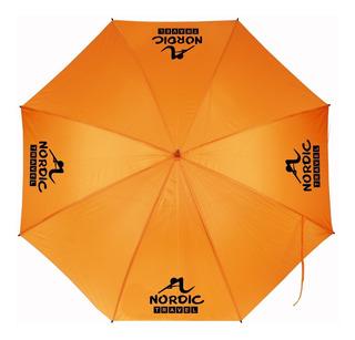 20 Paraguas Naranjas Gigantes Con Tu Logo Impreso En Negro