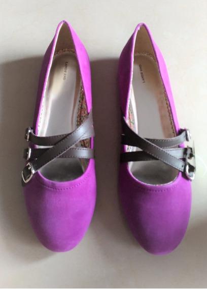 Chatitas Balerinas Gamuza Color Púrpura Importada Nro. 38