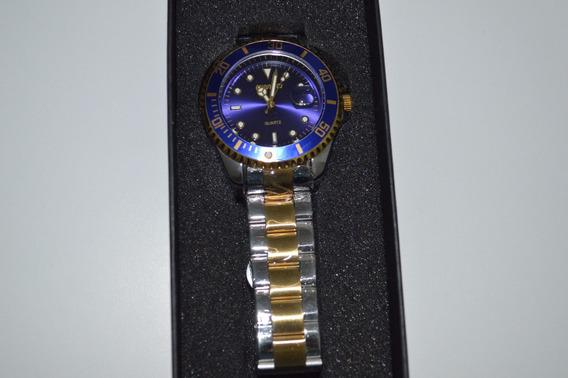 Relógio Masculino Quartzo Original Pulseira Metálica De Ouro