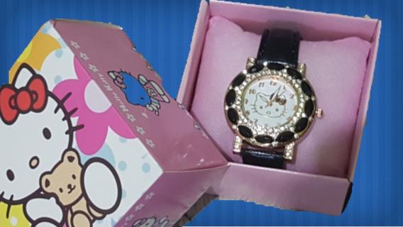 Relógio Hello Kitty Feminino Cor Preto Com Caixa