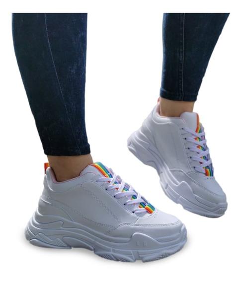Zapatos Tenis Blancos Para Mujer De Moda Tipo Balenciaga
