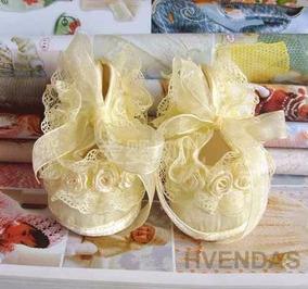 Sapatinho Bebê Menina Recém Nascido Amarelo Tamanho 13 E 14