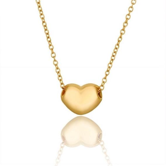 Colar Feminino Pingente Coração Delicado Folheado Em Ouro