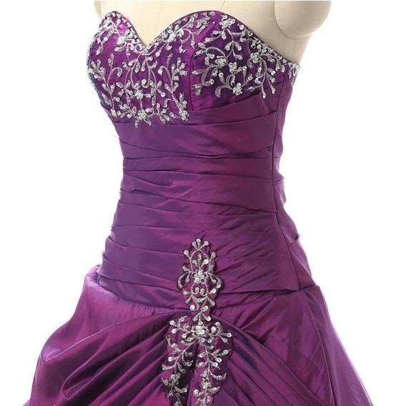 Vestido 15 Quince Años Largo Morado Violeta