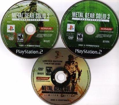 Coleção Metal Gear Solid 3 Subsistence 3 Discos Ps2 Patch