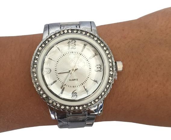 Relógio Feminino Strass Barato Prateado Prata Rosê Gold