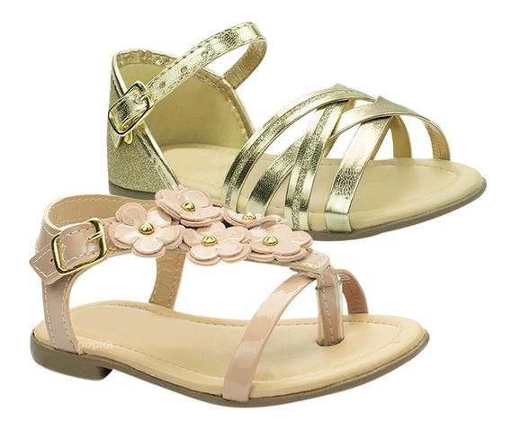 Kit 3 Sandalia Rasteira Infantil Menina Sapatilha Sapato