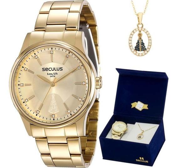Relógio Feminino Seculus Kit Semijoia 28654lpsvda1k1