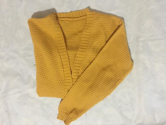 Saco-cardigan Medio Tiempo Color Mostaza Talle Unico