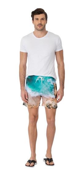 Shorts Mash Estampado Paisagem Azul 59286