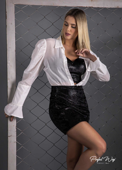 Conjunto Luxuoso Camisa + Cropped + Saia - Perfect Way