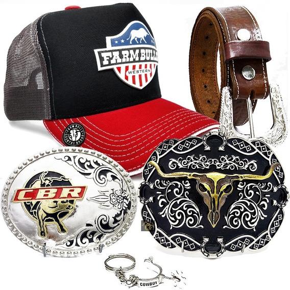 Kit Presente Cinto Couro Longhorn + Bone Country Farm Bulls Original + Fivela Cowboy + Chaveiro Espora Barretos Peao