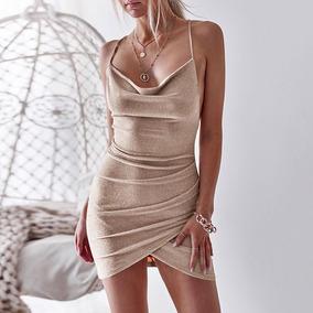 Mujeres Sexy Bodycon Brillante Vestido Escotado Por Detrás