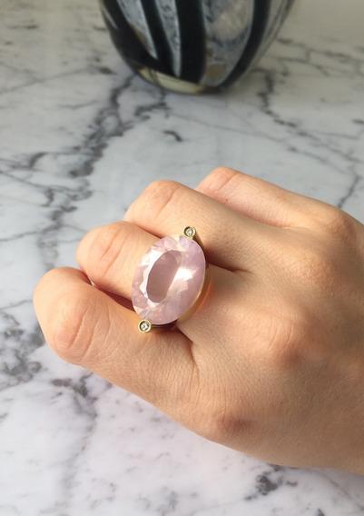 Anel Quartzo Rosa E Diamantes Ouro 18k
