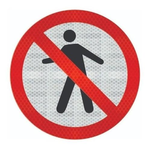 Imagem 1 de 2 de Placa Proibido Trânsito De Pedestre Refletivo R-29 Cm