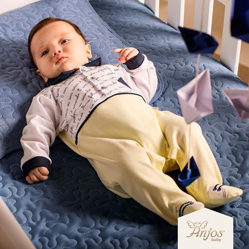 Imagem 1 de 5 de Saída Maternidade Menino Anjos Baby Aquarela 2 Peças