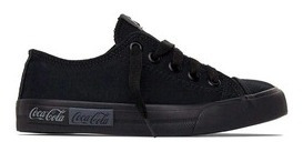 Tenis Adulto Coca Cola Shoes Blend Canvas All Black Cc1687