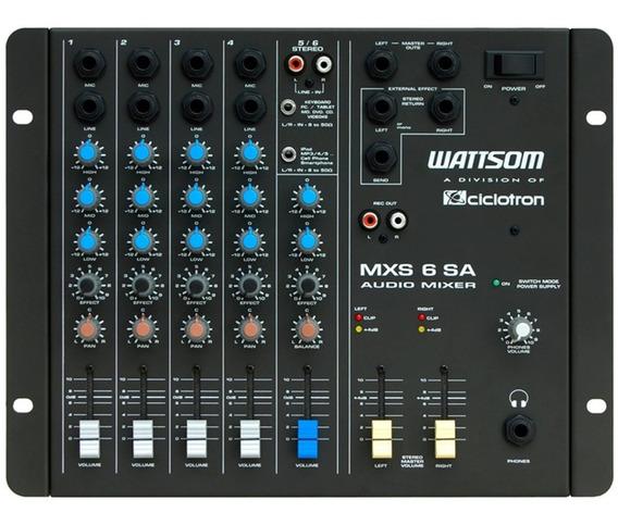 Mesa De Som 6 Canais - Wattsom / Ciclotron .. Mxs 6 Sa
