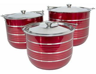 Ollas Batería Cocina Acero Inoxidable Delhi Rojo