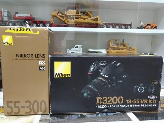 Câmera Nikon D3200 Com Duas Objetivas 18-55mm E 55-300mm