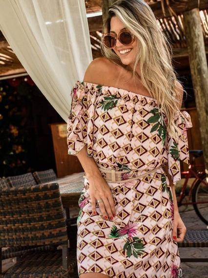 Vestido Ombro A Ombro Cigana Viscose Verão Estampado Feminin