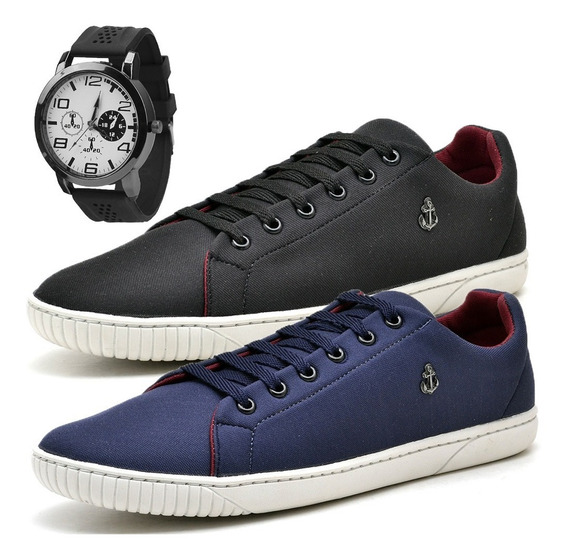 Kit 2 Tenis Masculino Sapatenis Masculino Sapato C/ Relógio