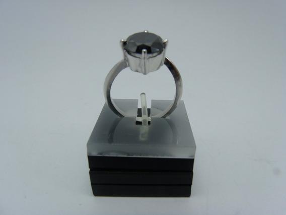 Tw Anel Diamante Negro Moissanite 12.5cts Prata 925