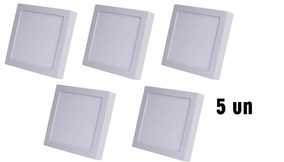 Kit Com 5 Painel Plafon 12w Luminaria Led Quadrado Sobrepor