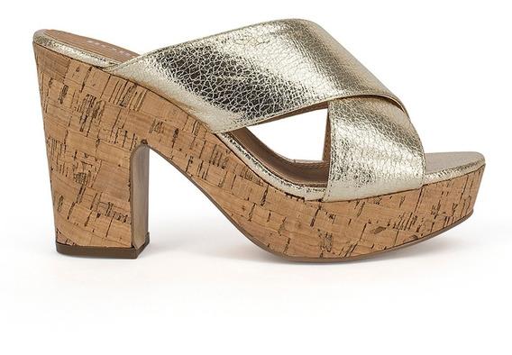 Sandalias Zapatos Dama Cruzada Tacon Corcho Dorados 9115
