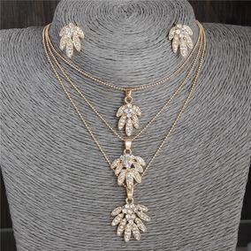 Conjunto Feminino Colar Brinco Dourado Pedras Cristal 583