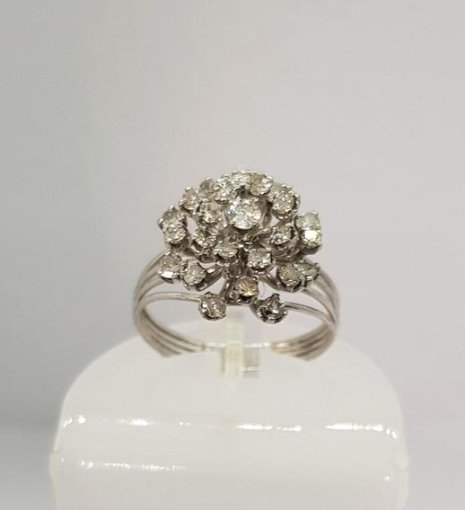 Anel Chuveiro Em Ouro Branco 18k Diamantes Joia Família