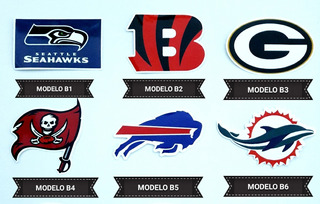 Adesivos Futebol Americano Nfl Bandeiras Mascotes