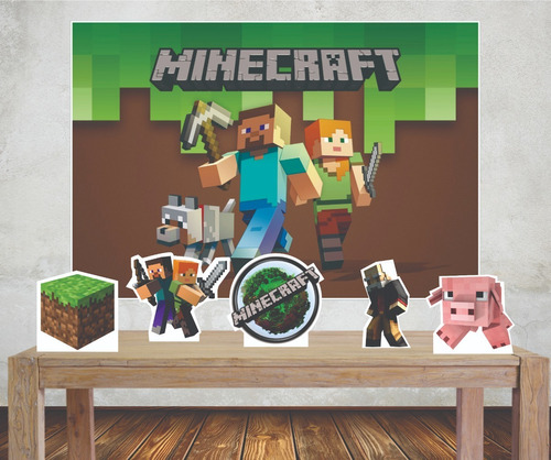 Imagem 1 de 4 de Kit Festa Painel 1x1,40m Minecraft Com Display Mesa Cenário