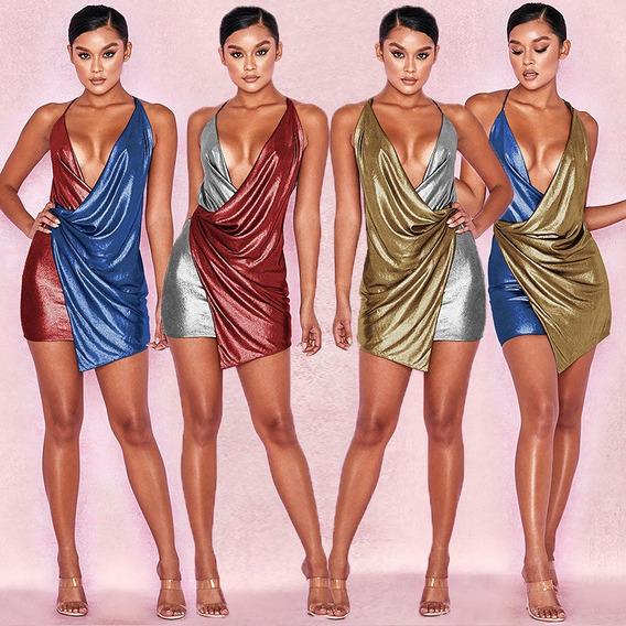 Mujeres Sexy Vestido Color Bloque Zambullida Cuello Sin Mang