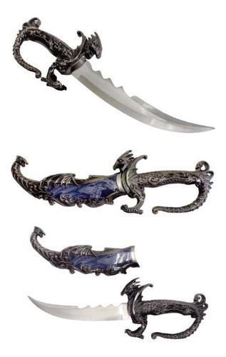Adaga Aço Dragão Blue Faca Espada Bainha Colecionar 38cm