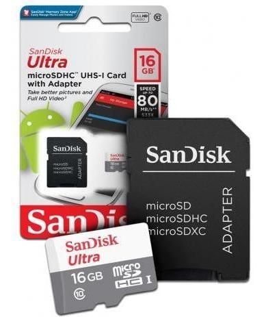 Cartao Memoria Microsd Sandisk Ultra 16gb 80mb/s