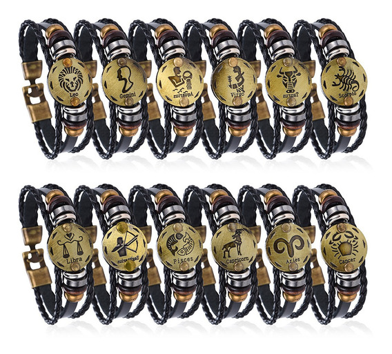 Pulseira Bracelete Couro Signos Astrologia Unissex Z3284
