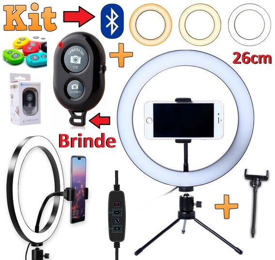 Ring Light Iluminador Led Celular Tripé Youtuber + Bluetooth