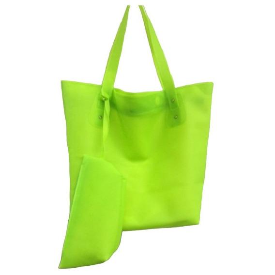 Bolsa Praia Verde Florescente Impermeável Silicone Moda 2019