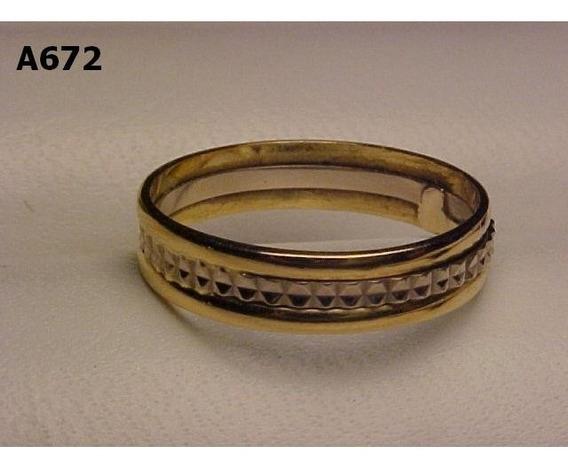#672a - Aliança Em Ouro 18k Amarelo C Detalhes Em Ouro Bran