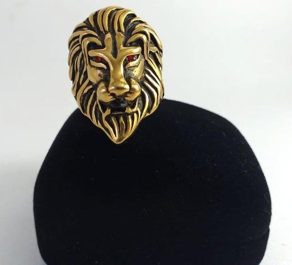 Anel Leão Olhos Vermelhos Aço Inox Dourado Motoquerio Lion