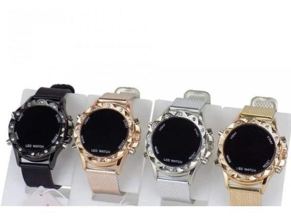 Luxo Kit C/10 Relógios Feminino Digital Strass Atacado Lote