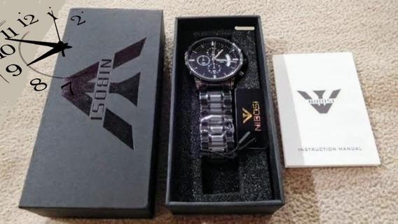 Relógio Nibosi Original Em Aço Inoxidável A Prova D