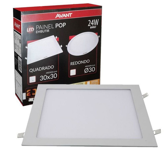 Kit 2 Plafon Led Embutir Quadrado 24w 30x30 Avant