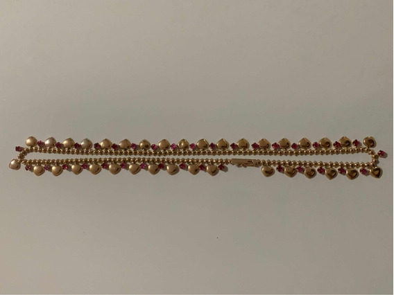 Colar Feminino Oriental Com Safira Rosa Ouro 18k