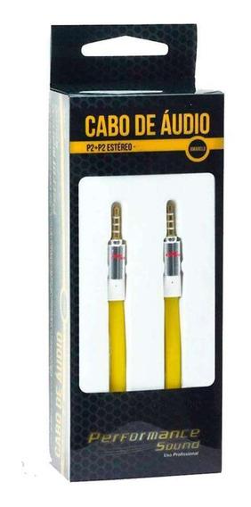 Cabo De Áudio P2 Para P2 Estéreo Chip Sce Amarelo 2 Metros