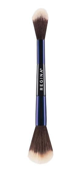 Brocha Maquillaje Iluminador Doble Regina Etiqueta Azul