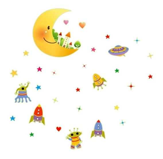Estrela Fluorescente Castelo Infantil C/ 30 Unidades Adesivo